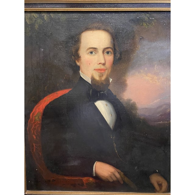 Antique Late 19th C. Oil on Board Framed Portrait of a Handsome Man Typical condition for age. Please refer to photos for...