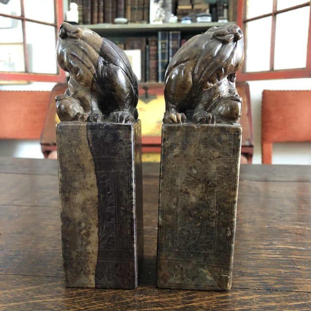 Chinese 19th Century Hand Carved Brown Shoushan Soapstone Chinese Chop Seals - a Pair For Sale - Image 3 of 13
