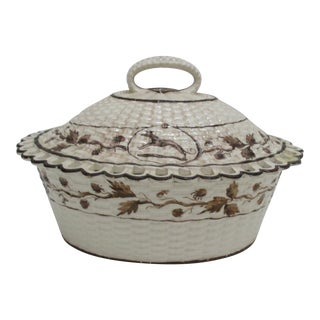 Antique Cream Ware Butter Dish With Pierced Rim Basket Weave Style For Sale