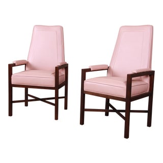 Edward Wormley for Dunbar Walnut and Leather X-Base High Back Armchairs, Pair For Sale