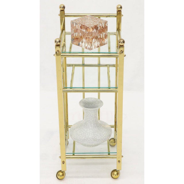 Mid-Century Modern Brass and Glass Square Stand Table Cart Pedestal on Wheels For Sale - Image 11 of 13