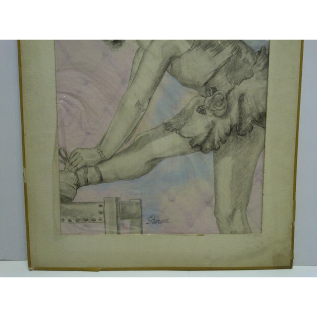 "Tom Sturges Jr. ""Curtain Time"" Original Matted Drawing For Sale - Image 4 of 7"