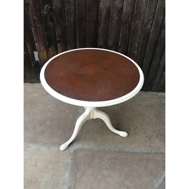 Leather Top Pedestal Table - Image 7 of 8