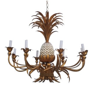 1960s Italian Hollywood Regency Gilt Tole Pineapple Eight-Arm Chandelier For Sale