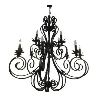 Contemporary Matte Black Steel Chandelier For Sale