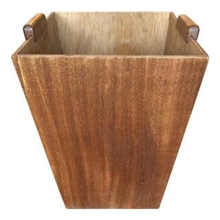 1970s Mid-Century Minimalist Wooden Wastebasket** For Sale