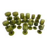 Image of Mid-Century Olive Green Glass - Set of 19 For Sale