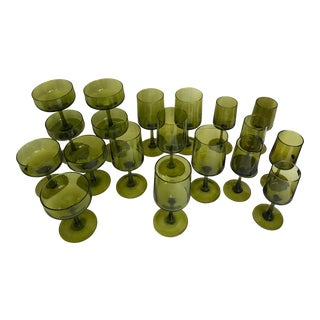Mid-Century Olive Green Glass - Set of 19 For Sale