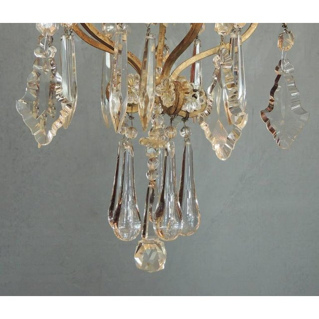 Small Early 20th C French Neoclassical Brass and Crystal Chandelier Lantern For Sale In Charleston - Image 6 of 7
