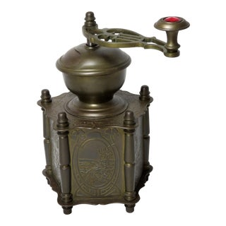 Antique Brass Jeweled Coffee Grinder For Sale