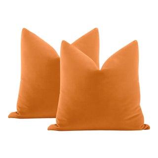 """22"""" Hermés Orange Italian Velvet Pillows - a Pair"""