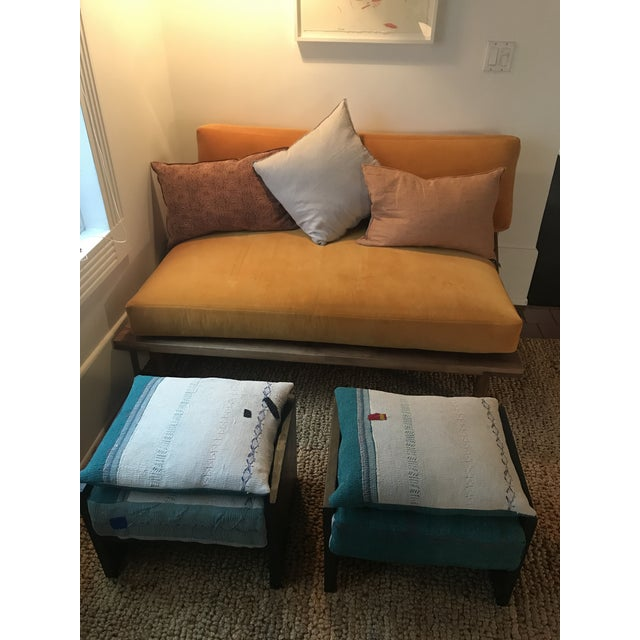 Modern Custom Katha Quilt Pillows Stool Set- A Pair For Sale - Image 12 of 13