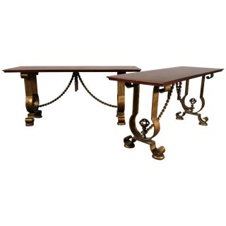 French Gold Gilt Console Tables Murray's Iron Works G. Poillerat Style - A Pair For Sale