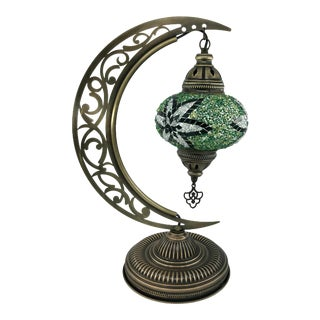 Turkish Mosaic Crescent Moon Moroccan Glass Table Lamp For Sale