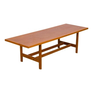 Scandinavian Rectangular Oak Coffee Table With Shelf For Sale