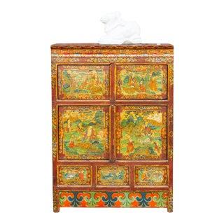 Handprinted Sino Tibetan Cabinet For Sale