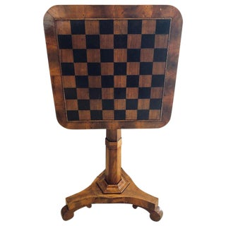 A 19th Century English Tilt Top Game Checkerboard or Card Table For Sale