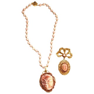 Miriam Haskell Locket Necklace and Brooch For Sale