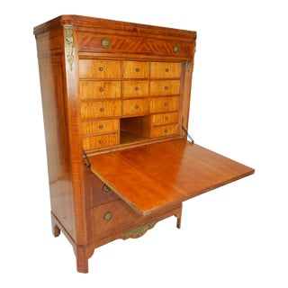 Antique French Louis XVI Inlaid Mahogany Secretaire Dau Abbatant For Sale