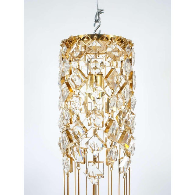 1960s Golden Brass and Crystal Column Chandelier Lamp by Palwa, 1960 For Sale - Image 5 of 9