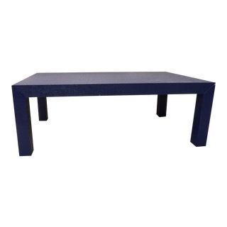 Contemporary Bold Navy Blue Fabric Colored Coffee Table For Sale