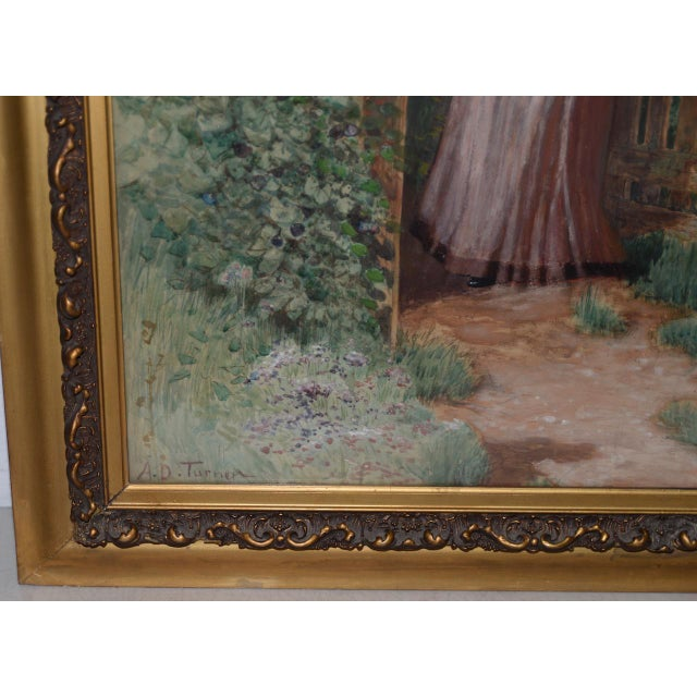 Country Early 20th C. Portrait of Young Woman at Gardens Gate Watercolor Painting For Sale - Image 3 of 9
