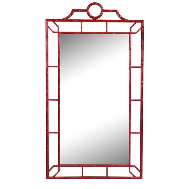 Large Red Faux Bamboo Chinoiserie Mirror For Sale