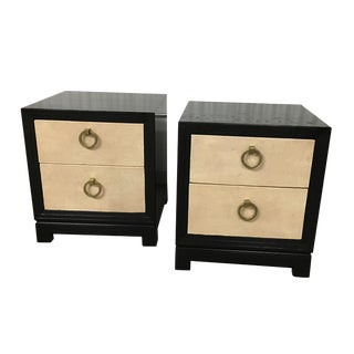 Small Frankl Night Stands / End Tables - Shagreen Fronts - Bronze Handles For Sale