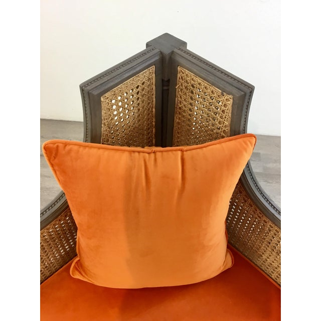 French French Style Cane Back Orange Velvet Corner Chair For Sale - Image 3 of 7