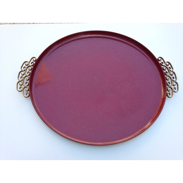 Moire' Glaze Kyes Round Tray For Sale - Image 5 of 5