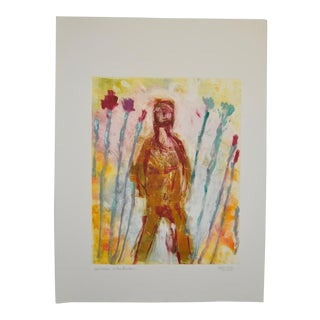 "Arthur Krakower ""Woman in the Garden"" Monotype Painting C.2006 For Sale"