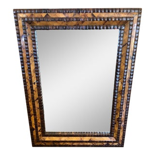 Exotic Designer Mosaic Stone & Horn Mirror For Sale