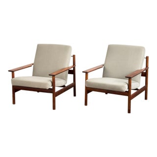Rosewood Modern Lounge Chairs - a Pair For Sale