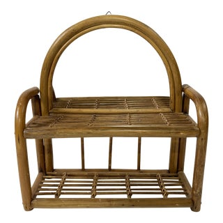 Rattan Wall Shelf With Mirror For Sale