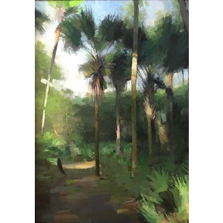 "Pöyhönen Oil Painting ""Palms at Halpatiokee"", Contemporary Large Green Landscape For Sale"