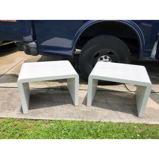 White 20th Century Modern Made Goods Faux Shagreen Waterfall Side Tables - a Pair For Sale - Image 8 of 8