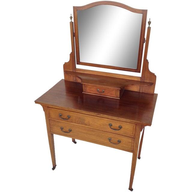 English Inlaid Vanity & Beveled Mirror - Image 1 of 6