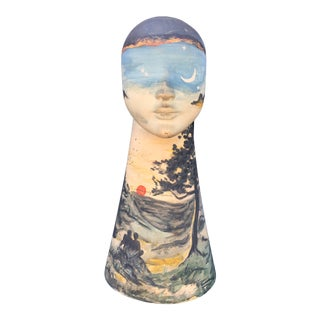 Tall Hand-Painted Boho Bust Sculpture, Signed For Sale