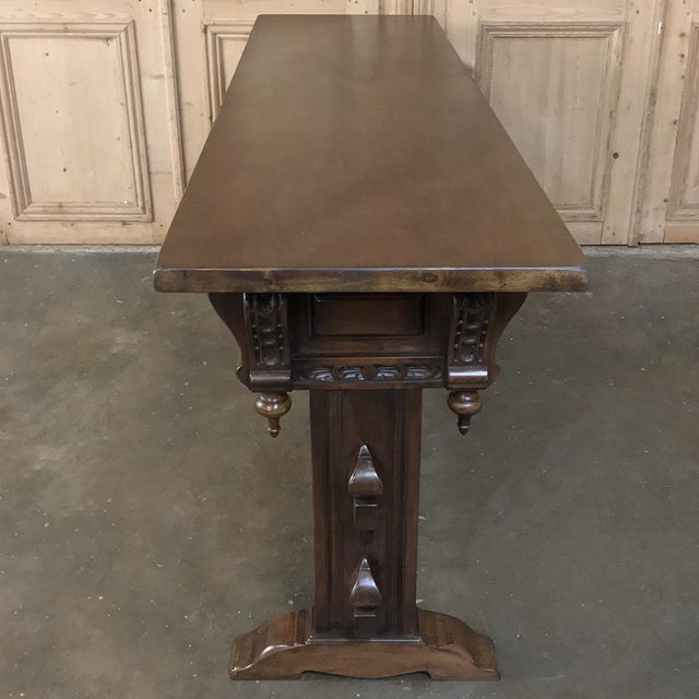 Brown Antique Spanish Renaissance Walnut Hall Table ~ Console For Sale - Image 8 of 12