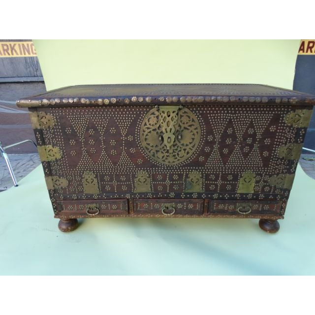 Moroccan Moorish Teak & Brass Studded Trunk For Sale - Image 3 of 9