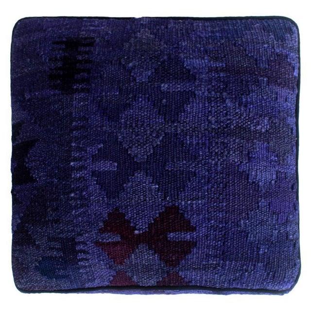 2010s Arshs Demetric Purple/Drk. Gray Kilim Upholstered Handmade Ottoman For Sale - Image 5 of 8