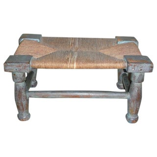Early & Rare N.E. 18thc Original Blue Painted Queen Anne Foot Stool For Sale