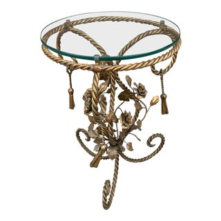 Hollywood Regency Gold Gilded Flowers and Tassels Base With Round Glass Top Table For Sale