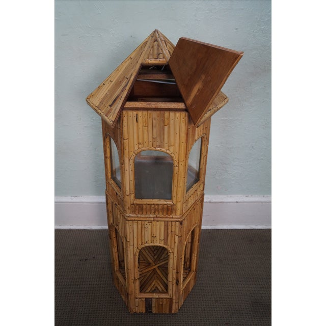 Boho Chic Vintage Rattan Bamboo Terrarium Display Cabinet For Sale - Image 3 of 9