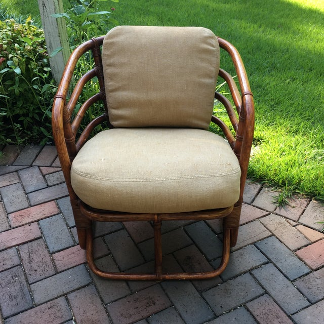 Brown 1970s Boho Chic Brown Jordan Rattan Arm Chair For Sale - Image 8 of 10