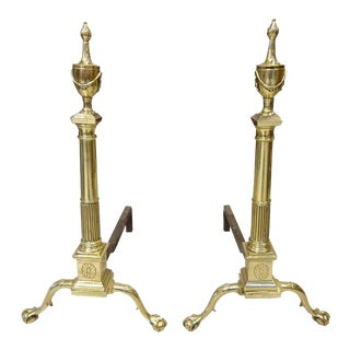 Pair of Neoclassical Style Brass Engraved Andirons