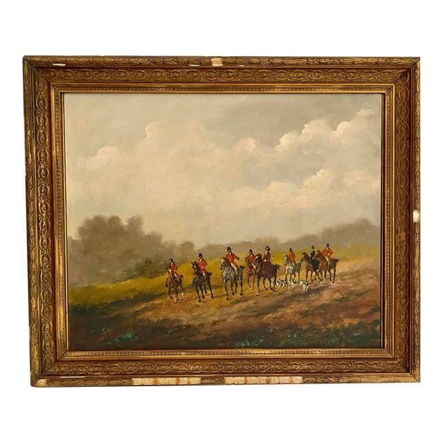 Antique Framed Hunt Scene Painting For Sale