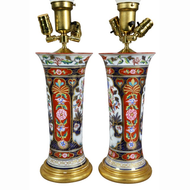 Victorian Imari Pattern Table Lamps - a Pair For Sale - Image 9 of 11