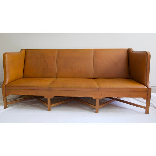 Chestnut Kaare Klint Model 4118 Leather and Legs of Mahogany Sofa For Sale - Image 8 of 8