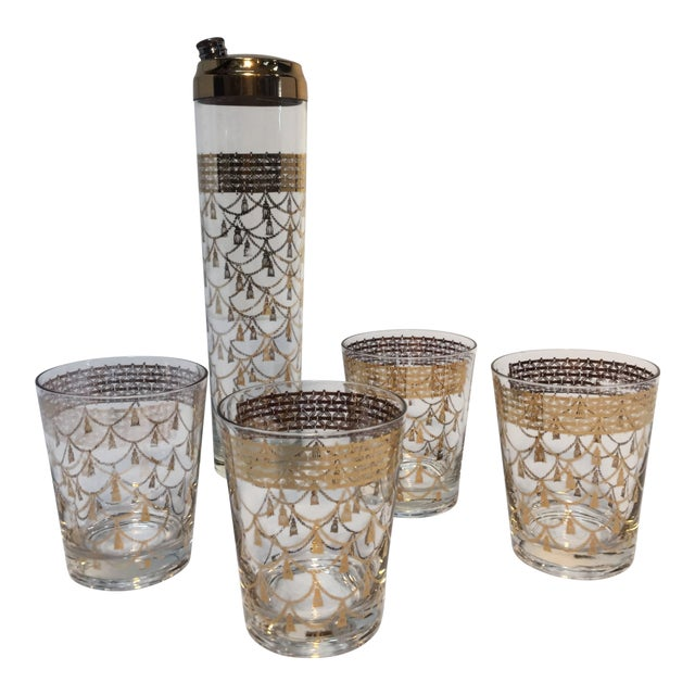 Vintage Cocktail Set of Midcentury Barware Glasses With Cocktail Shaker For Sale